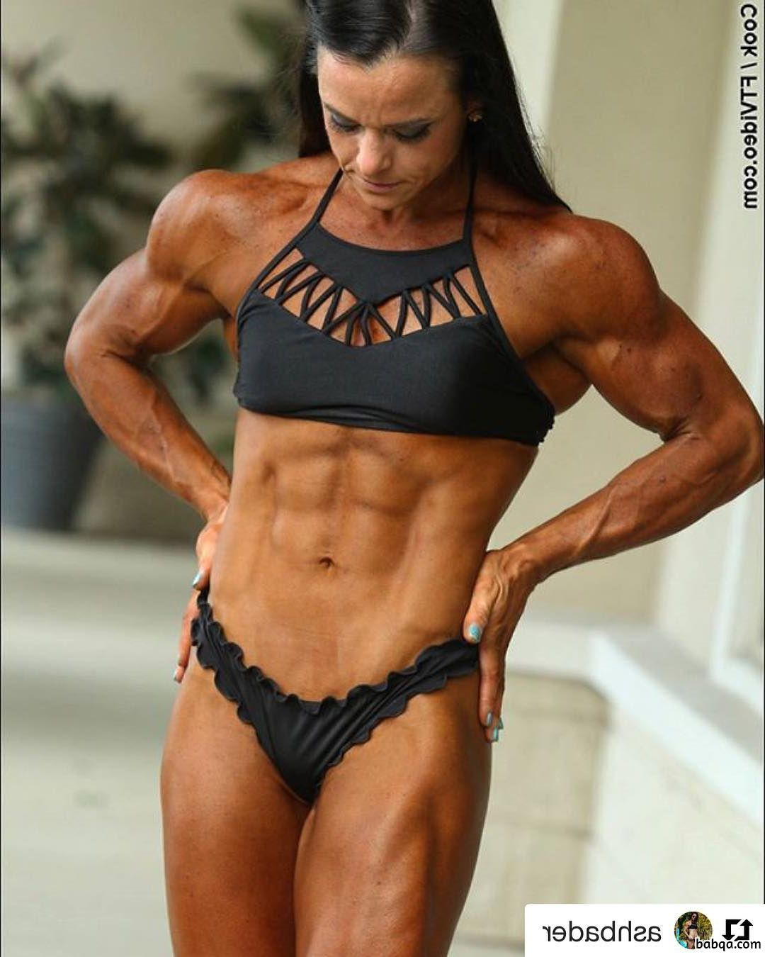 spicy chick with strong body and muscle biceps picture from facebook