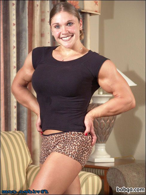 perfect chick with fitness body and muscle biceps pic from linkedin