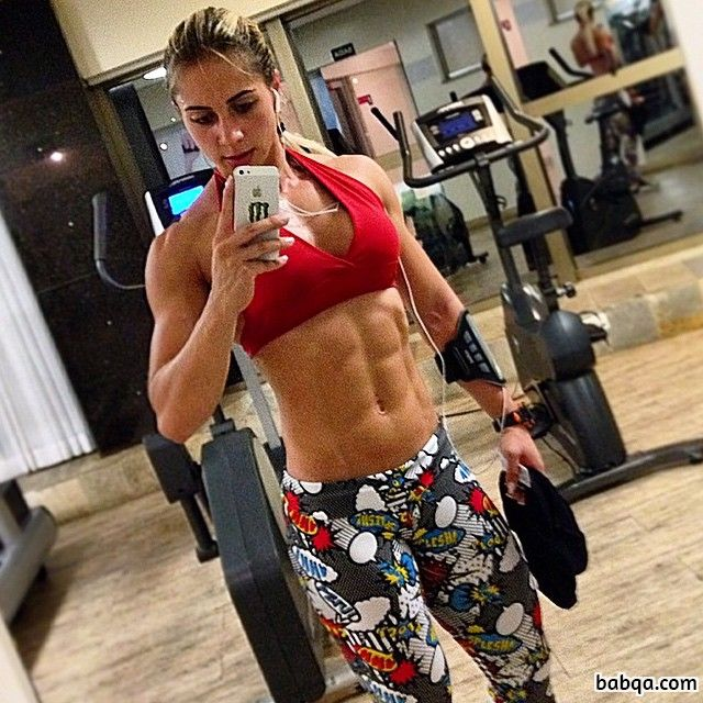 hottest female with strong body and toned biceps post from instagram