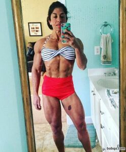 hottest woman with muscular body and muscle biceps photo from facebook