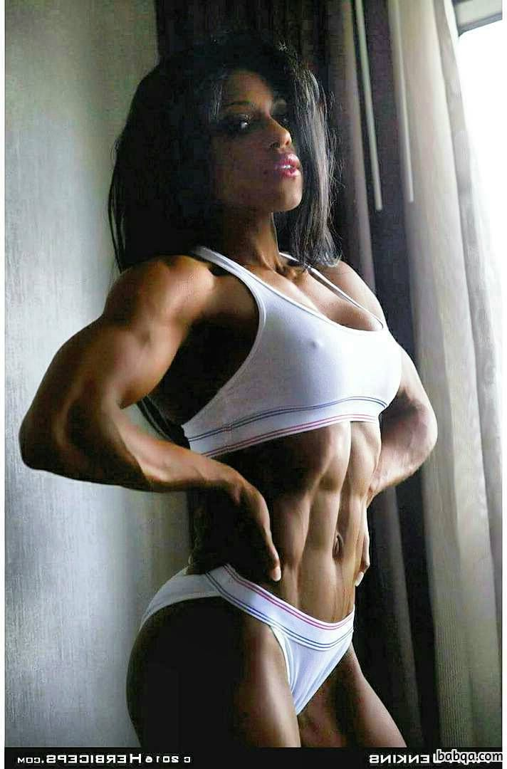 hottest babe with muscle body and muscle arms pic from facebook