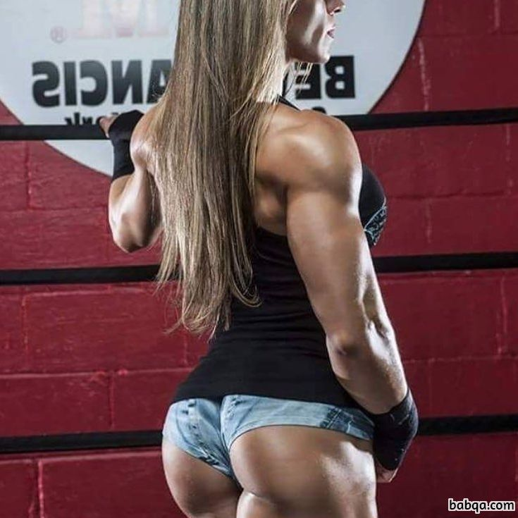 awesome babe with muscle body and muscle booty image from facebook