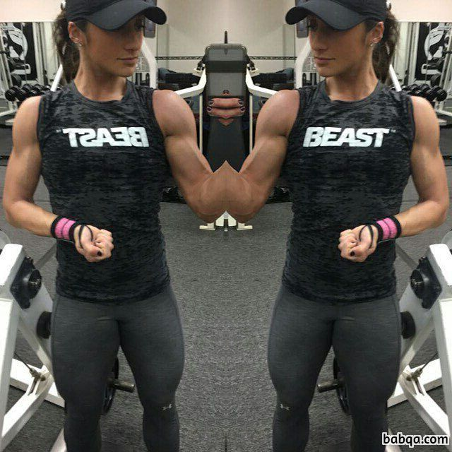 beautiful female with fitness body and toned biceps repost from insta