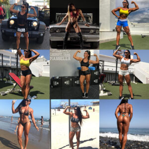 sexy female bodybuilder with strong body and toned arms post from instagram