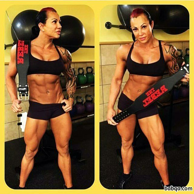 cute female bodybuilder with muscle body and toned bottom pic from linkedin