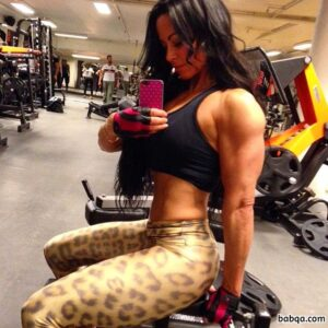 cute woman with muscle body and toned arms picture from linkedin
