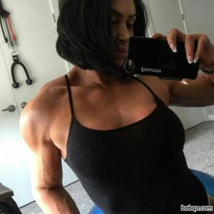 beautiful chick with muscle body and toned biceps image from reddit