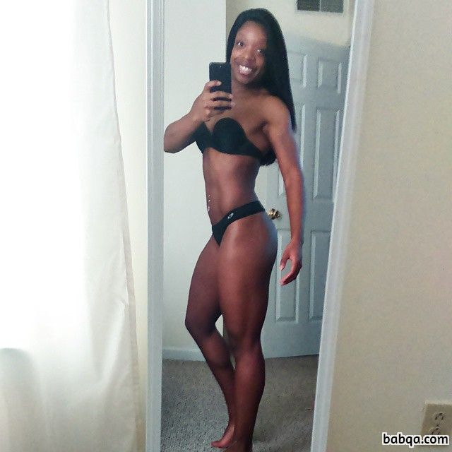 spicy female bodybuilder with strong body and toned biceps repost from g+