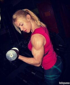 perfect female bodybuilder with strong body and muscle legs image from instagram