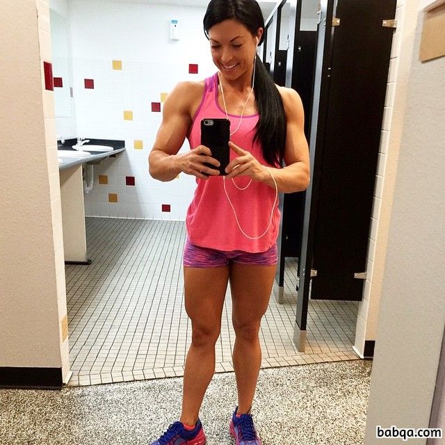 beautiful female bodybuilder with muscular body and toned arms repost from flickr