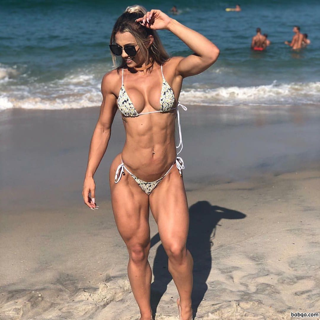 sexy chick with strong body and muscle biceps post from insta