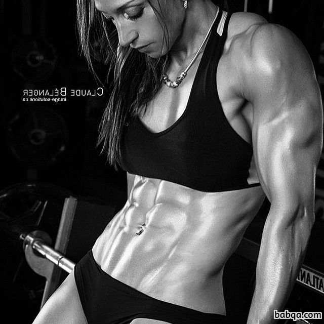 perfect lady with muscular body and muscle biceps post from instagram