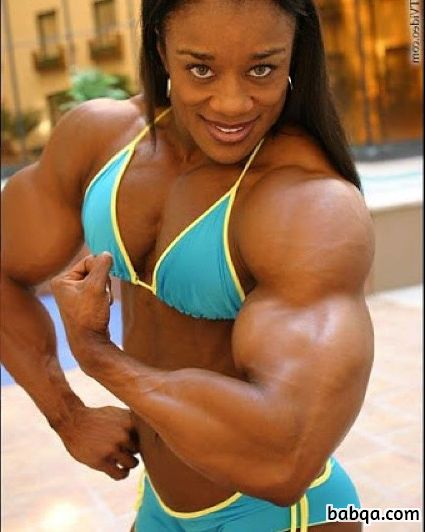 sexy female with strong body and muscle biceps repost from linkedin
