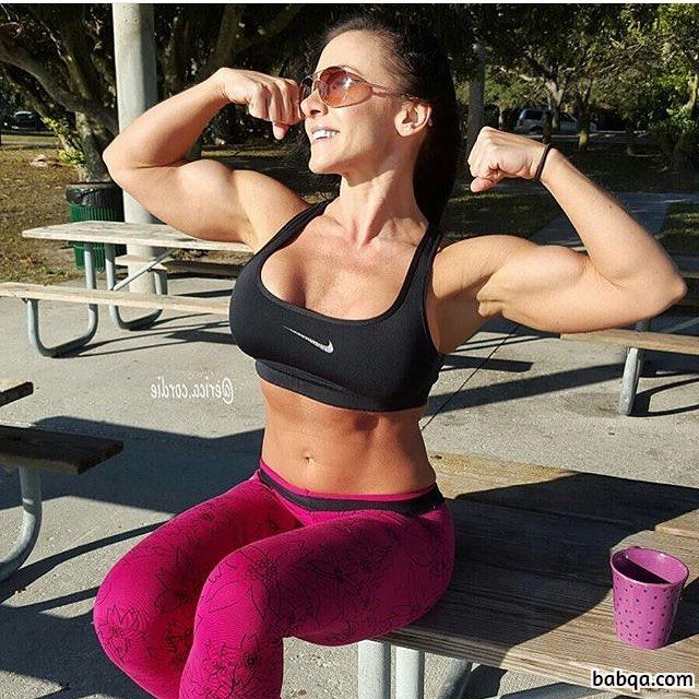 hot female with fitness body and toned biceps picture from instagram