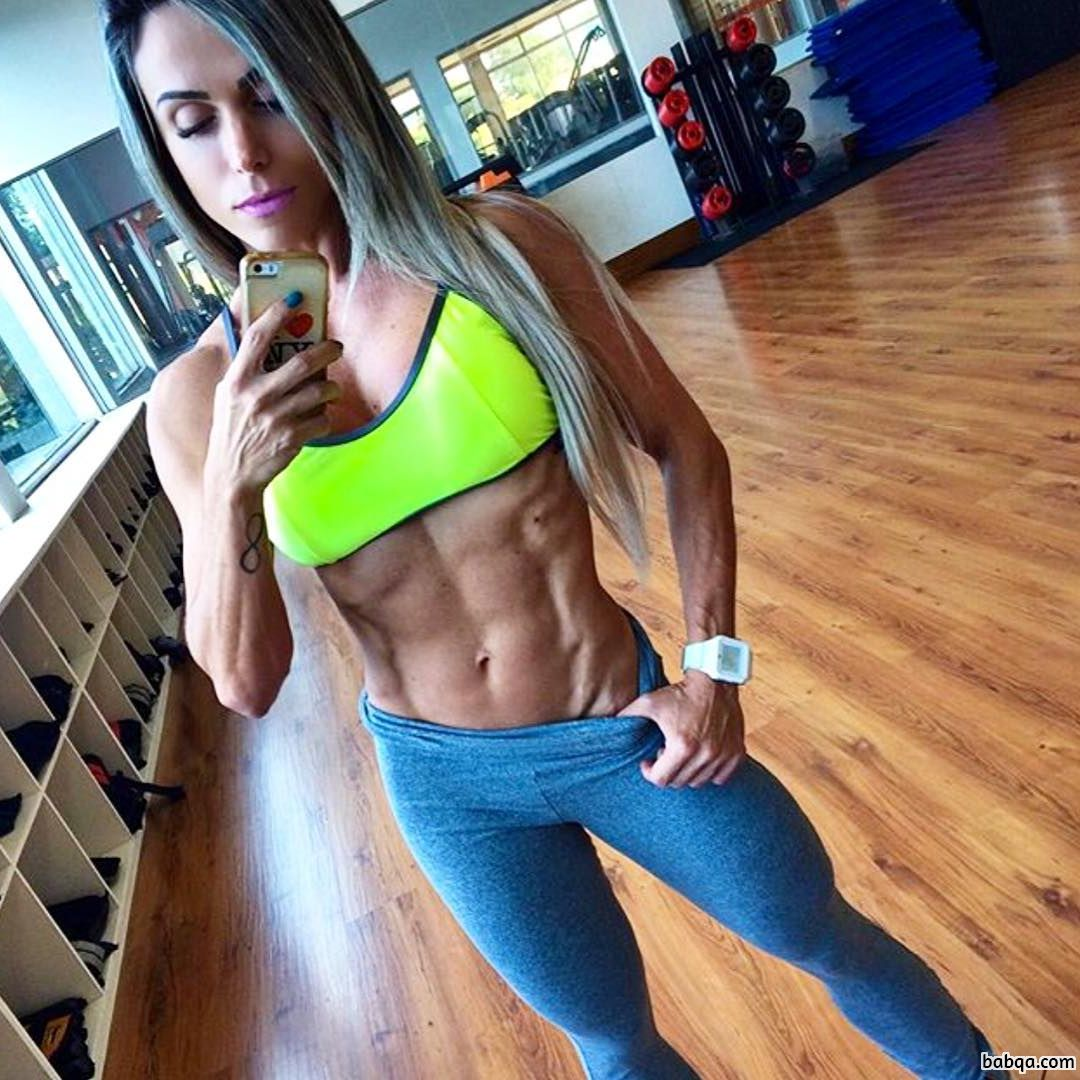 spicy female bodybuilder with fitness body and toned bottom repost from insta