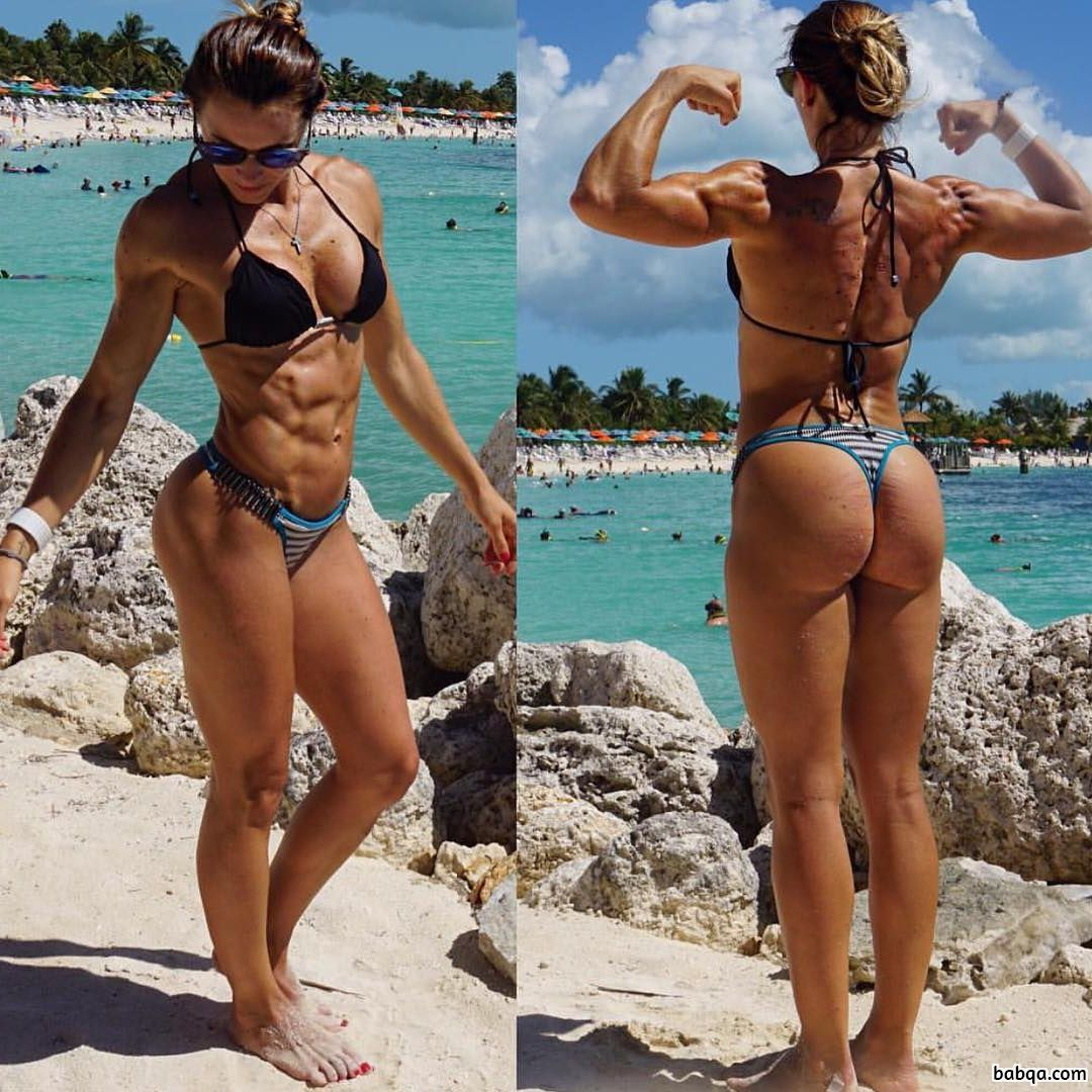 sexy lady with strong body and toned biceps repost from instagram