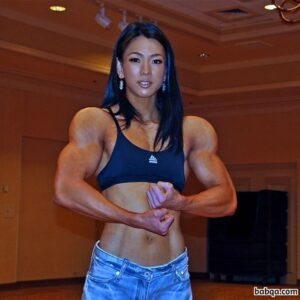 perfect chick with muscle body and muscle arms picture from facebook