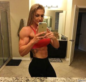 cute female bodybuilder with muscular body and toned biceps post from g+
