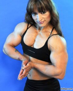 beautiful female bodybuilder with fitness body and muscle arms repost from facebook