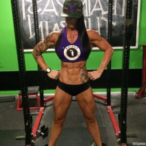 sexy female bodybuilder with muscle body and muscle biceps post from linkedin