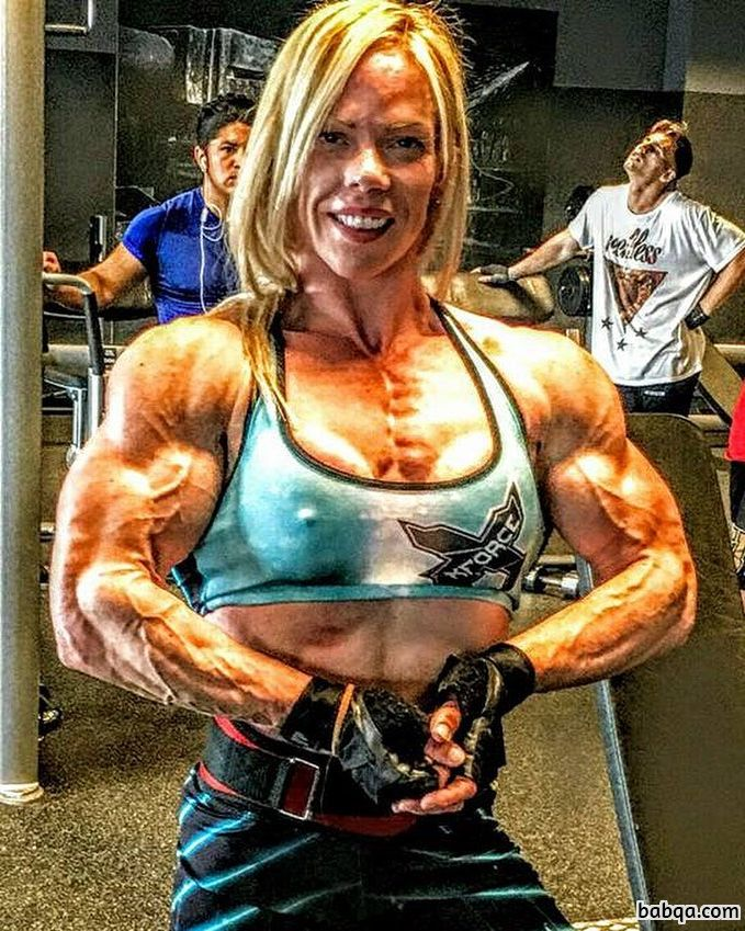 beautiful lady with muscular body and toned biceps repost from reddit