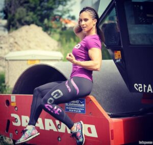 awesome lady with fitness body and muscle biceps repost from tumblr