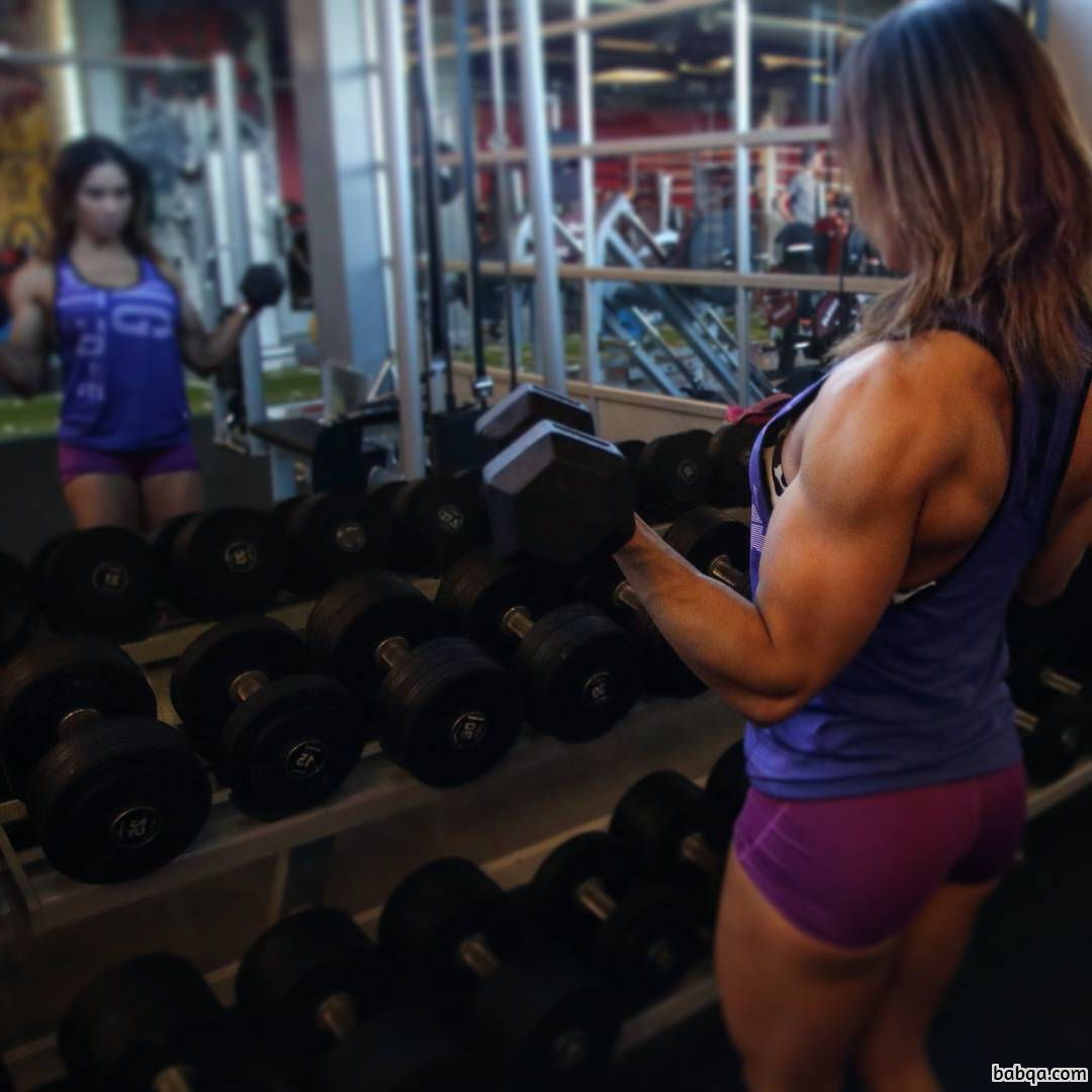 spicy lady with muscular body and muscle arms image from tumblr
