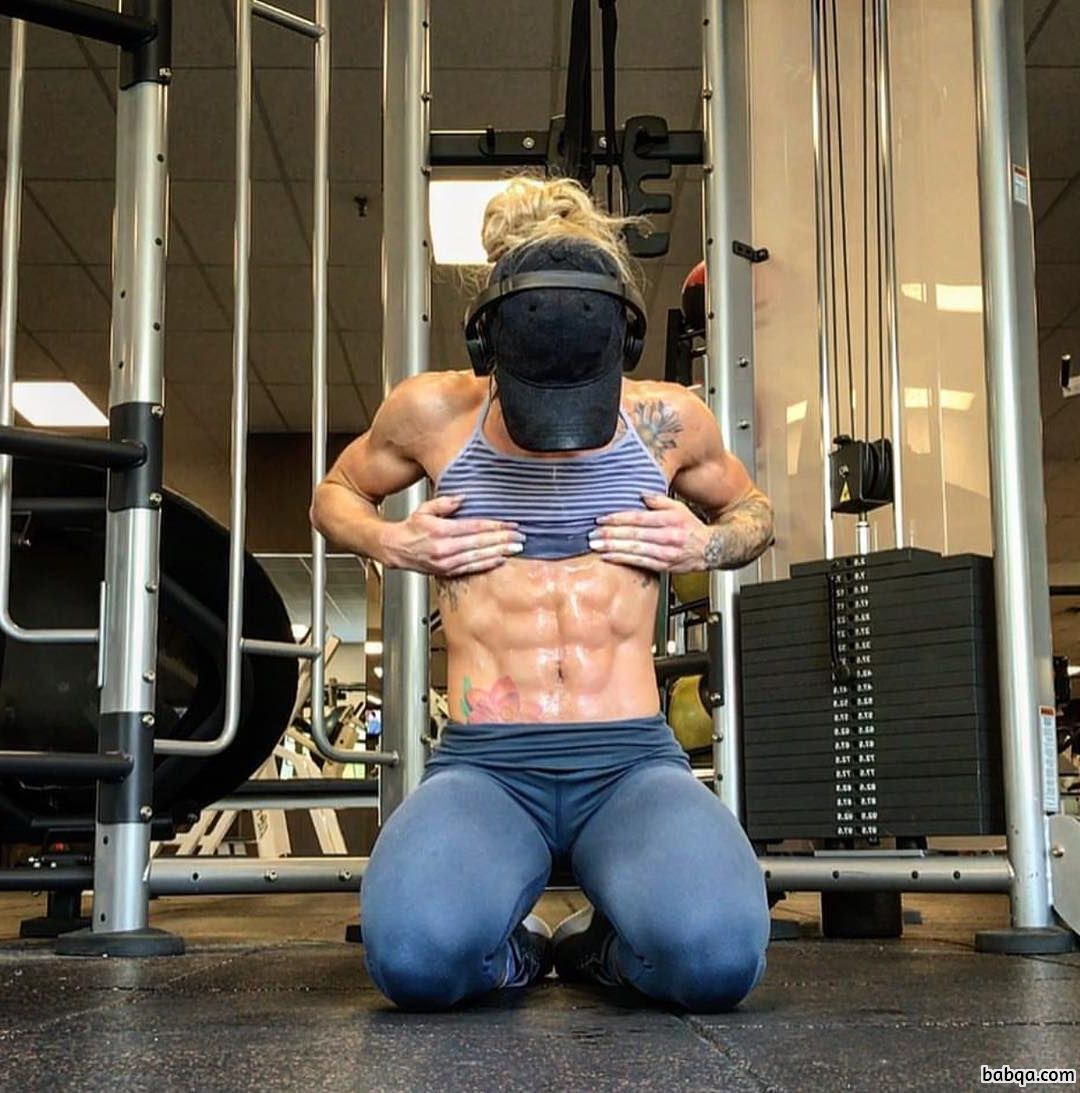 hottest lady with fitness body and muscle arms image from linkedin