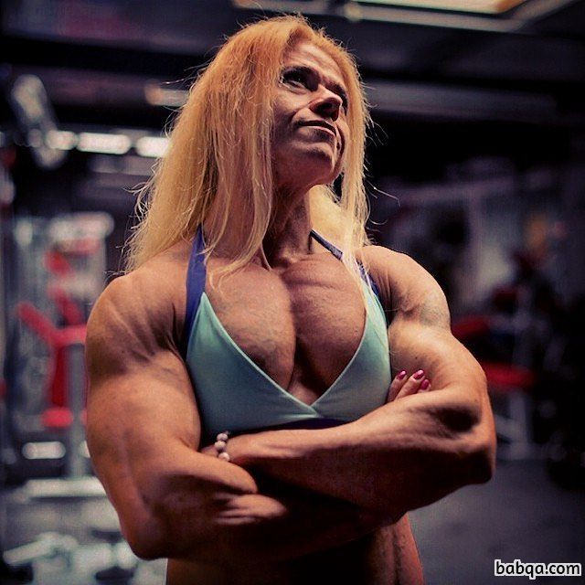 hottest lady with fitness body and muscle biceps repost from insta
