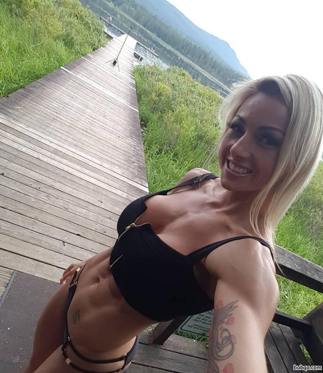awesome lady with fitness body and muscle booty post from reddit