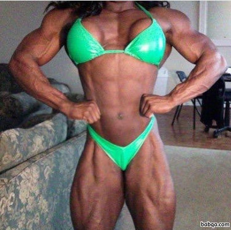 hot female bodybuilder with strong body and muscle biceps repost from instagram