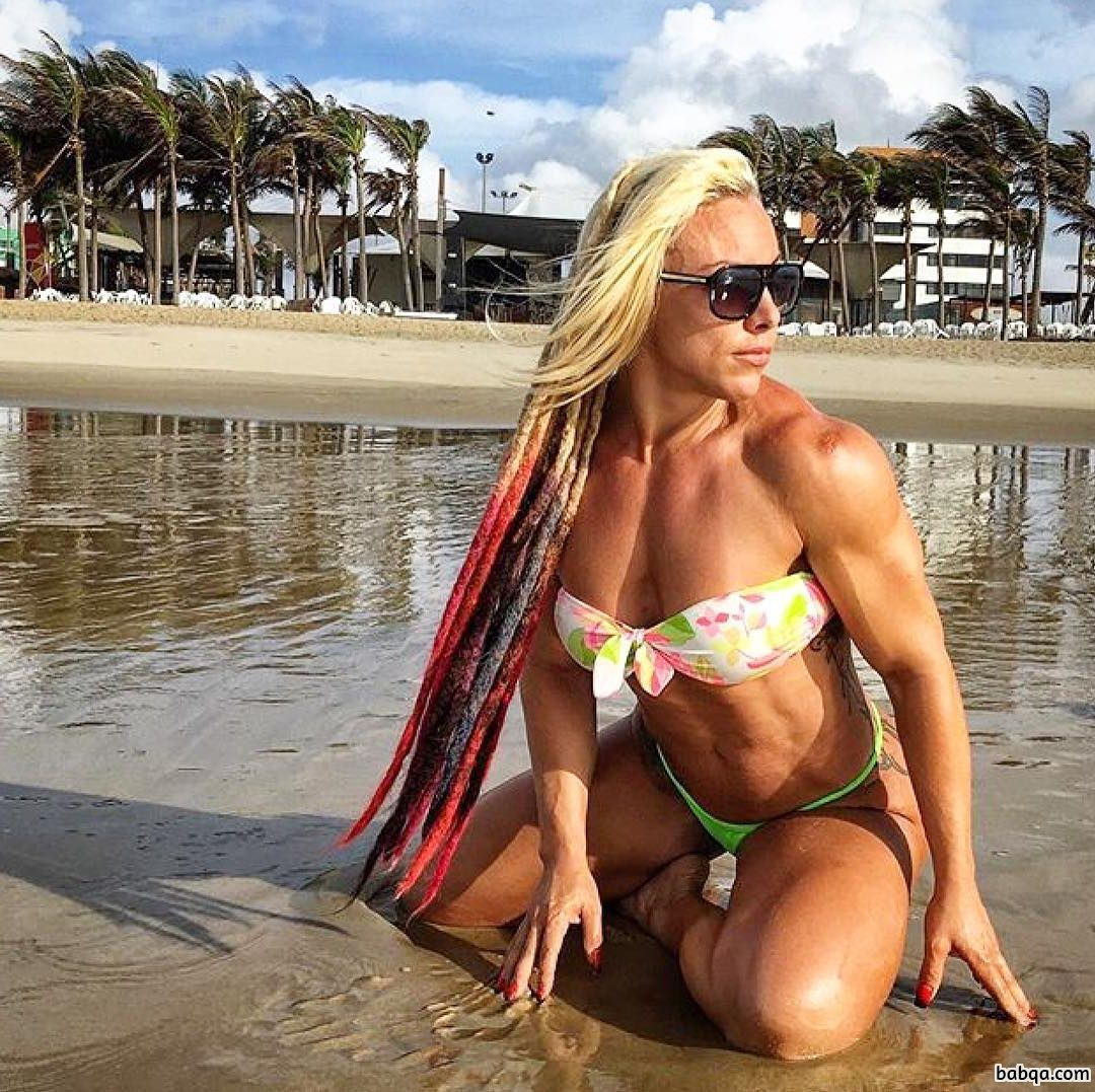 perfect chick with fitness body and toned biceps post from facebook