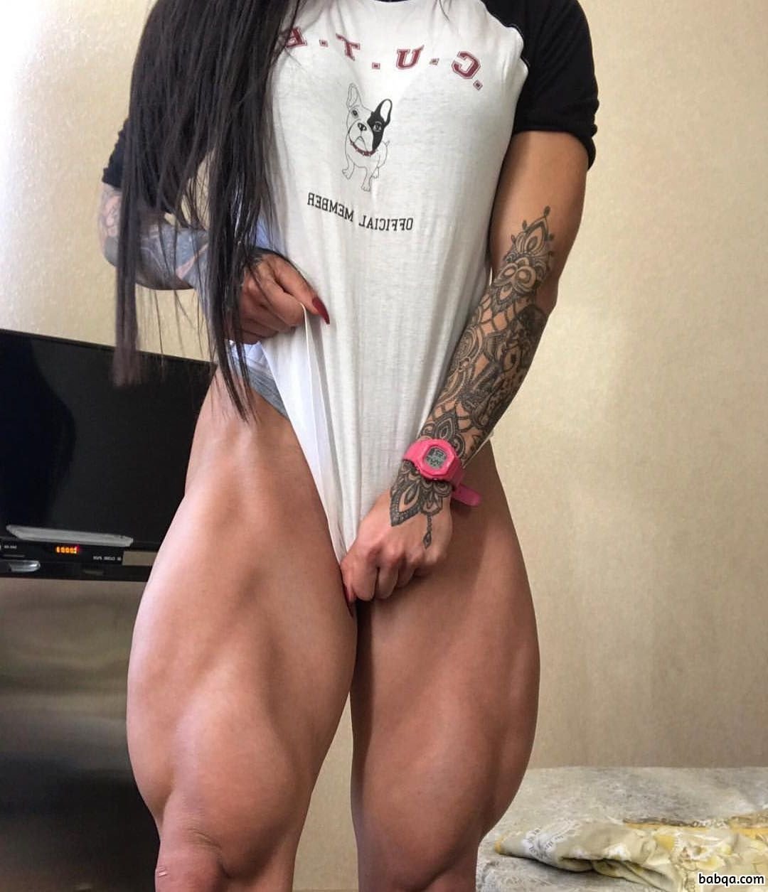 hottest female bodybuilder with muscular body and muscle arms repost from tumblr