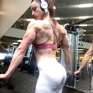 perfect lady with fitness body and muscle biceps pic from reddit
