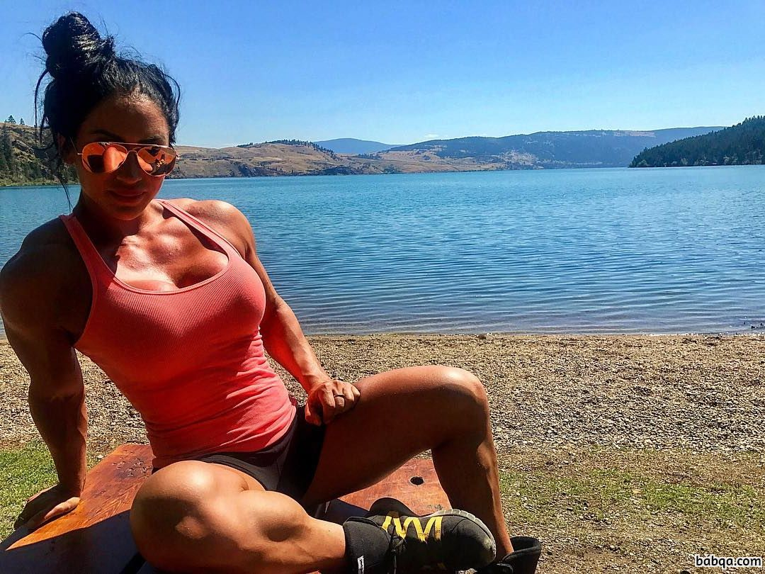 beautiful female bodybuilder with strong body and muscle bottom image from insta