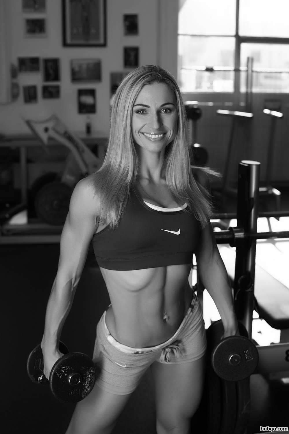 cute babe with strong body and muscle biceps pic from facebook