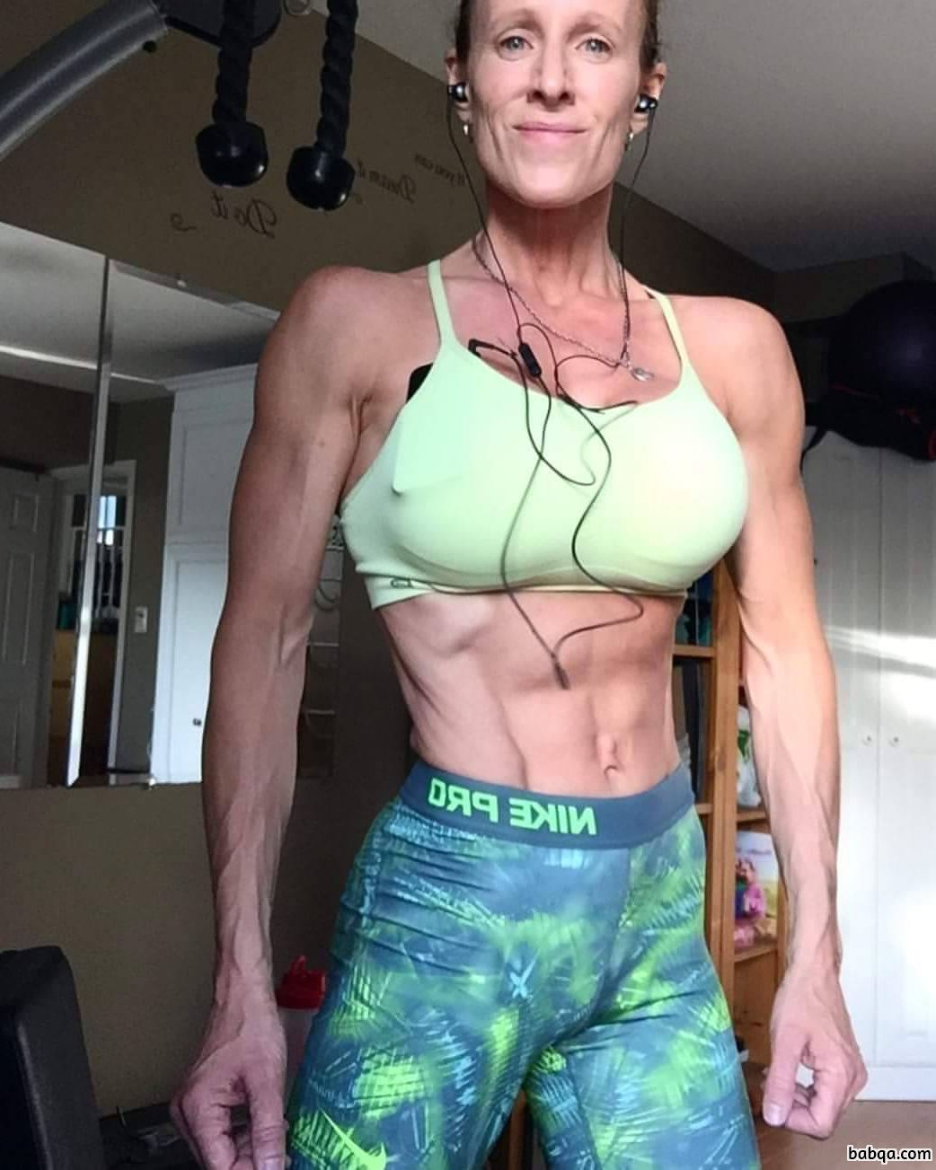 hottest female bodybuilder with muscle body and toned booty post from facebook