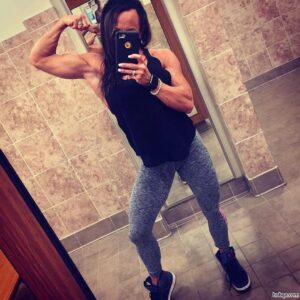 awesome lady with muscle body and muscle biceps pic from g+