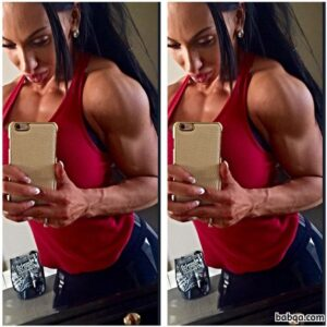 cute female bodybuilder with muscle body and toned bottom pic from insta