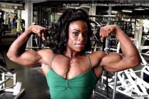 hot chick with muscular body and muscle biceps post from linkedin
