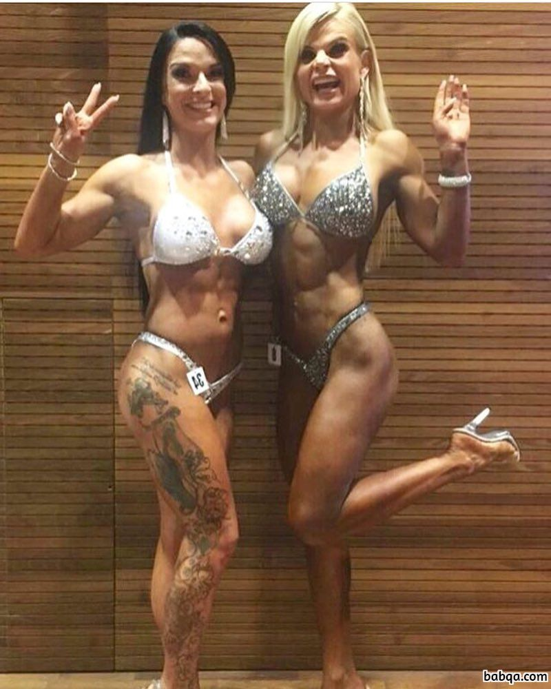 perfect female bodybuilder with fitness body and muscle arms repost from facebook