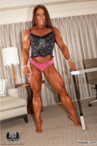awesome female with strong body and muscle biceps pic from g+