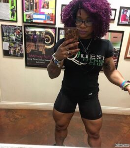 cute woman with muscle body and muscle arms photo from instagram