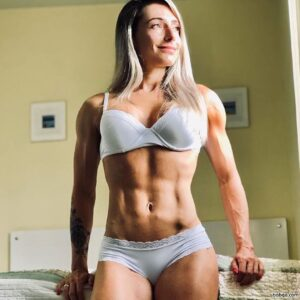 hot woman with muscular body and toned ass post from linkedin