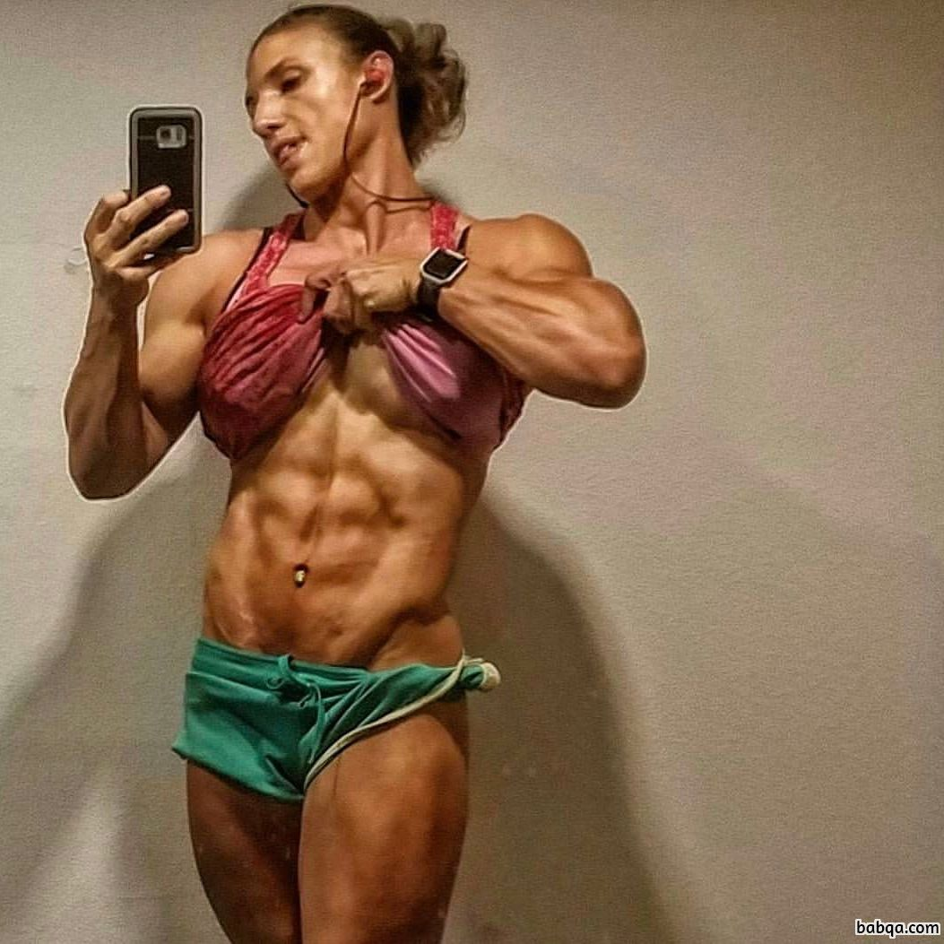 spicy female bodybuilder with muscular body and muscle arms picture from linkedin