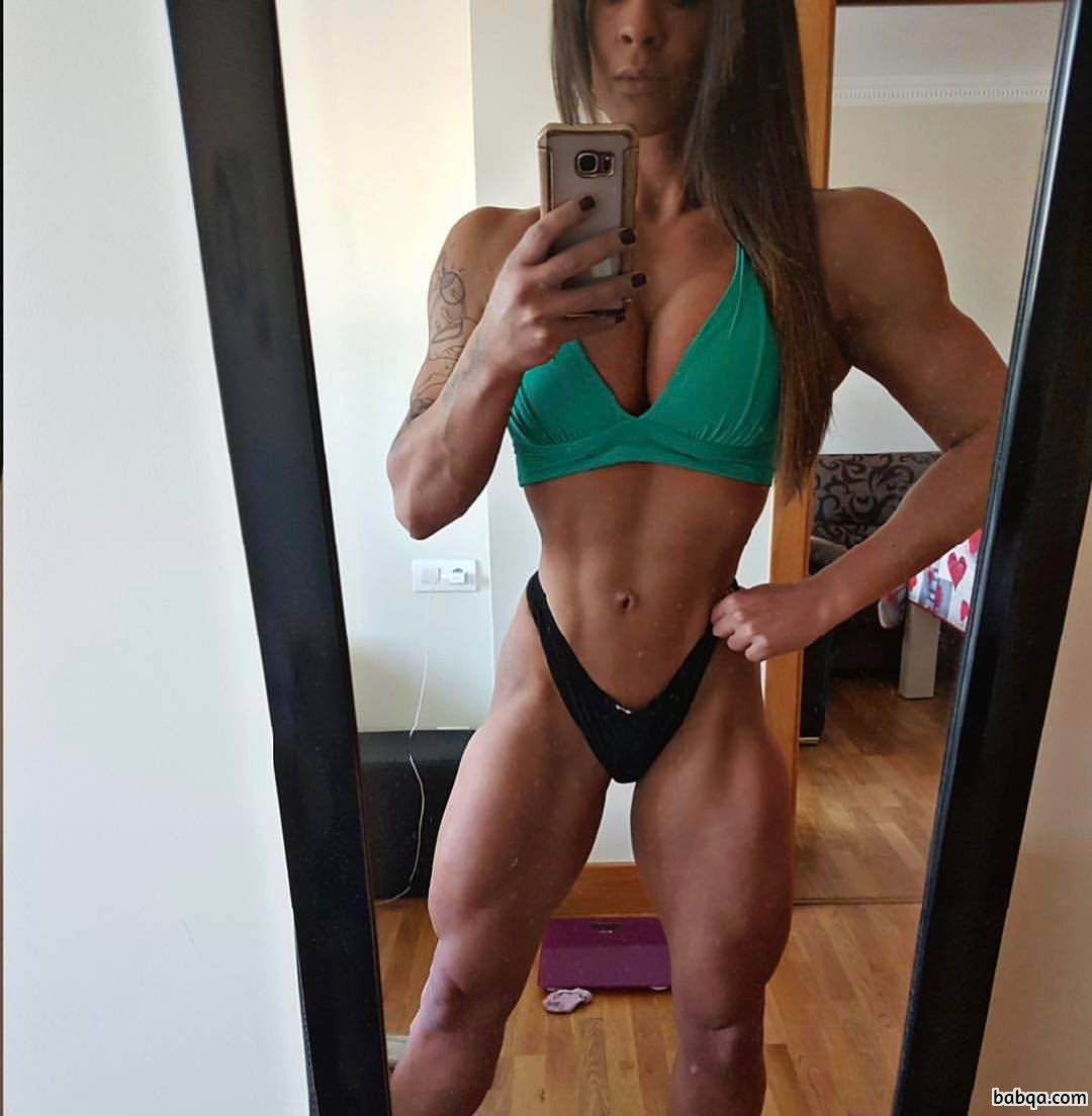 sexy chick with fitness body and muscle bottom repost from insta