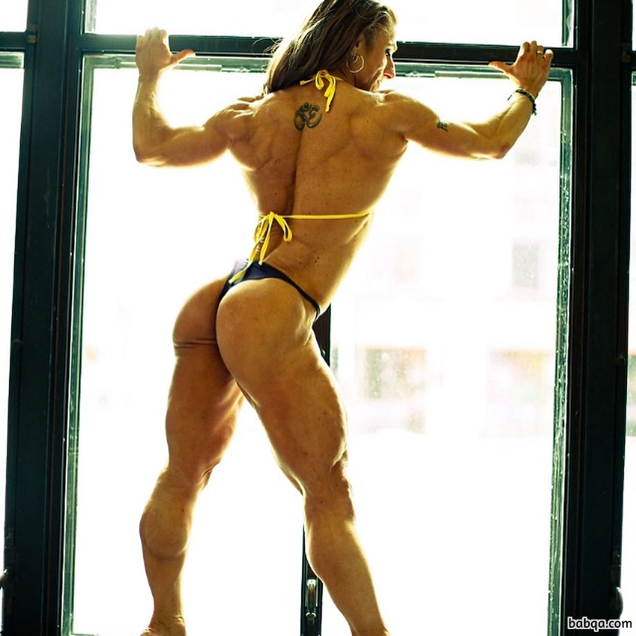 beautiful female bodybuilder with muscular body and muscle biceps image from insta