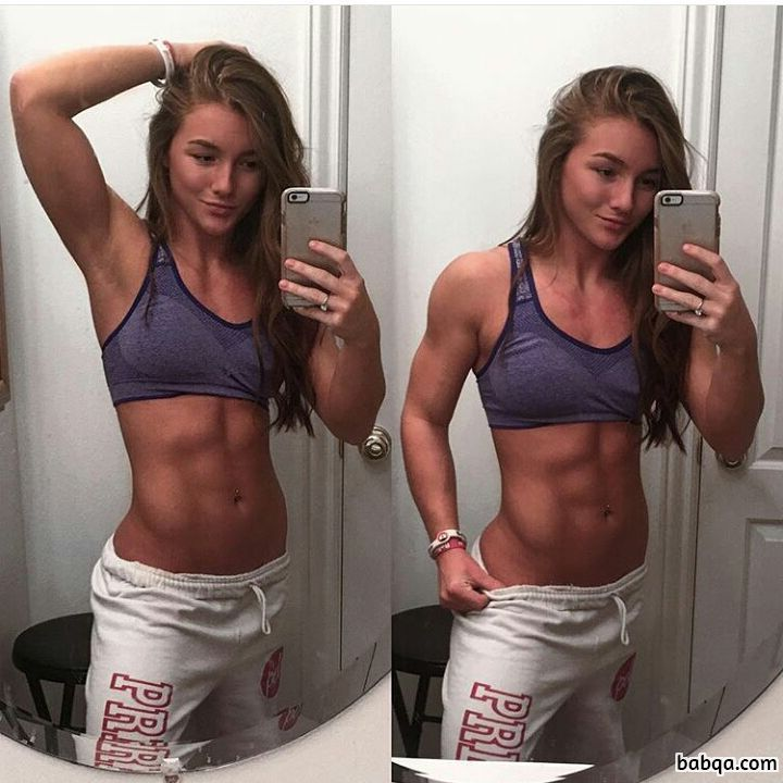 perfect chick with muscle body and muscle legs post from insta