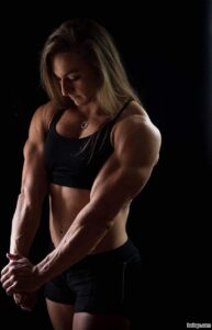 hot female bodybuilder with fitness body and muscle biceps repost from facebook