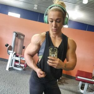 sexy lady with muscle body and muscle biceps image from instagram